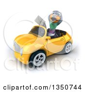 Clipart Of A 3d Pigeon Holding An Envelope And Driving A Yellow Convertible Car To The Left Royalty Free Illustration