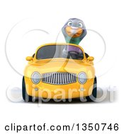 3d Pigeon Driving A Yellow Convertible Car