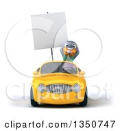 Clipart Of A 3d Pigeon Holding A Blank Sign And Driving A Yellow Convertible Car Royalty Free Illustration by Julos