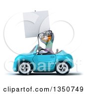 Clipart Of A 3d Bespectacled Pigeon Holding A Blank Sign And Driving A Blue Convertible Car To The Left Royalty Free Illustration