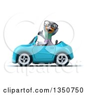 Clipart Of A 3d Bespectacled Pigeon Giving A Thumb Up And Driving A Blue Convertible Car To The Left Royalty Free Illustration