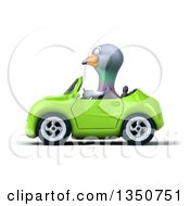 Clipart Of A 3d Pigeon Driving A Green Convertible Car To The Left Royalty Free Illustration by Julos