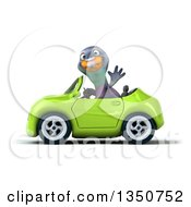 Clipart Of A 3d Pigeon Waving And Driving A Green Convertible Car To The Left Royalty Free Illustration by Julos