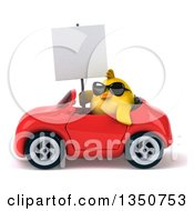Clipart Of A 3d Chubby Yellow Bird Chicken Wearing Sunglasses Holding A Blank Sign And Driving A Red Convertible Car To The Left Royalty Free Illustration