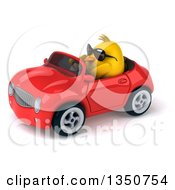Clipart Of A 3d Chubby Yellow Bird Chicken Wearing Sunglasses And Driving A Red Convertible Car To The Left Royalty Free Illustration