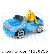Poster, Art Print Of 3d Chubby Yellow Bird Chicken Driving A Blue Convertible Car To The Left