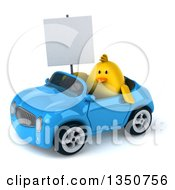 Clipart Of A 3d Chubby Yellow Bird Chicken Holding A Blank Sign And Driving A Blue Convertible Car To The Left Royalty Free Illustration