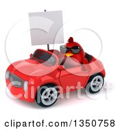 Clipart Of A 3d Chubby Red Bird Wearing Sunglasses Holding A Blank Sign And Driving A Convertible Car To The Left Royalty Free Illustration