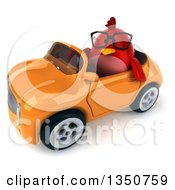 Clipart Of A 3d Bespectacled Chubby Red Bird Driving An Orange Convertible Car To The Left Royalty Free Illustration