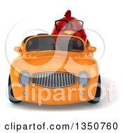 3d Bespectacled Chubby Red Bird Driving An Orange Convertible Car