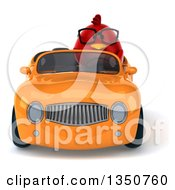 Clipart Of A 3d Bespectacled Chubby Red Bird Driving An Orange Convertible Car Royalty Free Illustration