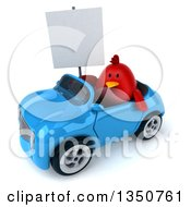 Clipart Of A 3d Chubby Red Bird Holding A Blank Sign And Driving A Blue Convertible Car To The Left Royalty Free Illustration by Julos