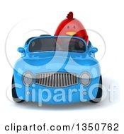 3d Chubby Red Bird Driving A Blue Convertible Car
