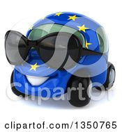 Clipart Of A 3d European Car Character Wearing Sunglasses Royalty Free Illustration