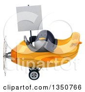 Clipart Of A 3d Penguin Aviator Pilot Holding A Blank Sign And Flying A Yellow Airplane To The Left Royalty Free Illustration
