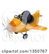 Clipart Of A 3d Penguin Aviator Pilot Flying A Yellow Airplane To The Left Royalty Free Illustration