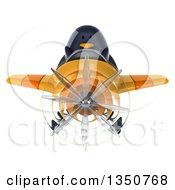 Clipart Of A 3d Penguin Aviator Pilot Flying A Yellow Airplane Royalty Free Illustration