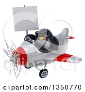 Clipart Of A 3d Penguin Aviator Pilot Wearing Sunglasses Holding A Blank Sign And Flying A White And Red Airplane To The Left Royalty Free Illustration