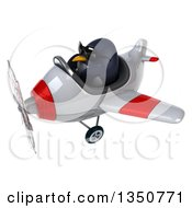 Clipart Of A 3d Penguin Aviator Pilot Wearing Sunglasses And Flying A White And Red Airplane To The Left Royalty Free Illustration