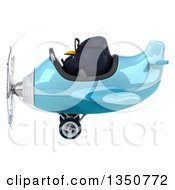Clipart Of A 3d Bespectacled Penguin Aviator Pilot Flying A Blue Airplane To The Left Royalty Free Illustration