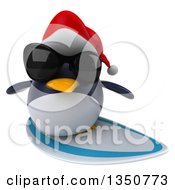 Clipart Of A 3d Christmas Penguin Wearing A Santa Hat And Sunglasses And Surfing Royalty Free Illustration