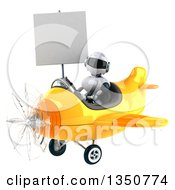 Clipart Of A 3d White And Blue Aviator Pilot Holding A Blank Sign And Flying A Yellow Airplane To The Left Royalty Free Illustration