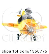 Clipart Of A 3d White And Blue Aviator Pilot Giving A Thumb Up And Flying A Yellow Airplane Royalty Free Illustration