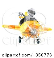 Clipart Of A 3d White And Blue Aviator Pilot Giving A Thumb Down And Flying A Yellow Airplane Royalty Free Illustration by Julos