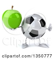 Clipart Of A 3d Soccer Ball Character Holding A Green Apple And Giving A Thumb Up Royalty Free Illustration