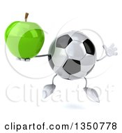 Clipart Of A 3d Soccer Ball Character Holding A Green Apple And Jumping Royalty Free Illustration
