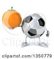Clipart Of A 3d Soccer Ball Character Holding A Navel Orange Royalty Free Illustration by Julos