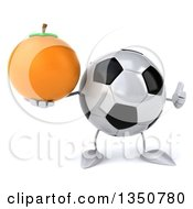 Clipart Of A 3d Soccer Ball Character Holding A Navel Orange And Giving A Thumb Up Royalty Free Illustration by Julos