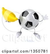 Clipart Of A 3d Soccer Ball Character Holding A Banana And Jumping Royalty Free Illustration by Julos