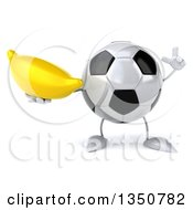 Clipart Of A 3d Soccer Ball Character Holding Up A Finger And A Banana Royalty Free Illustration by Julos