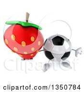Clipart Of A 3d Soccer Ball Character Holding Up A Thumb Down And A Strawberry Royalty Free Illustration by Julos
