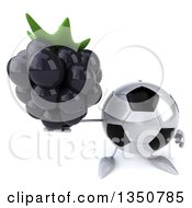 Clipart Of A 3d Soccer Ball Character Holding Up A Blackberry Royalty Free Illustration