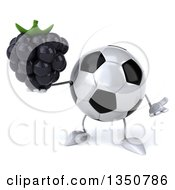 Clipart Of A 3d Soccer Ball Character Holding A Blackberry And Shrugging Royalty Free Illustration