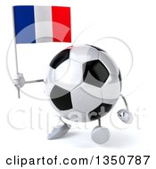 Clipart Of A 3d Soccer Ball Character Holding A French Flag And Walking Royalty Free Illustration by Julos