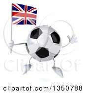 Clipart Of A 3d Soccer Ball Character Holding A British Union Jack Flag And Jumping Royalty Free Illustration by Julos