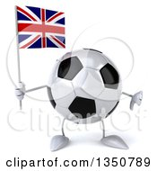 Clipart Of A 3d Soccer Ball Character Holding A British Union Jack Flag And Giving A Thumb Down Royalty Free Illustration by Julos