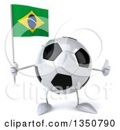 Clipart Of A 3d Soccer Ball Character Holding A Brazilian Flag And Giving A Thumb Up Royalty Free Illustration by Julos