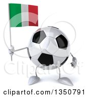 Clipart Of A 3d Soccer Ball Character Holding An Italian Flag Royalty Free Illustration by Julos