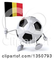Clipart Of A 3d Soccer Ball Character Holding A Belgian Flag And Walking Royalty Free Illustration by Julos