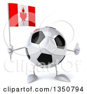 Clipart Of A 3d Soccer Ball Character Holding A Canadian Flag And Giving A Thumb Up Royalty Free Illustration by Julos
