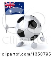 Clipart Of A 3d Soccer Ball Character Holding An Australian Flag And Walking Royalty Free Illustration by Julos