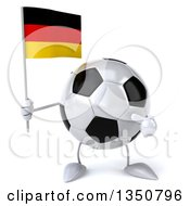 Clipart Of A 3d Soccer Ball Character Holding And Pointing To A German Flag Royalty Free Illustration