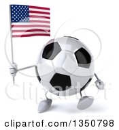 Clipart Of A 3d Soccer Ball Character Holding An American Flag And Walking Royalty Free Illustration by Julos