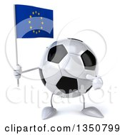 Clipart Of A 3d Soccer Ball Character Holding And Pointing To A European Flag Royalty Free Illustration by Julos