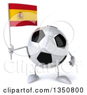 Clipart Of A 3d Soccer Ball Character Holding A Spanish Flag Royalty Free Illustration