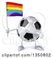 Clipart Of A 3d Soccer Ball Character Holding And Pointing To A Rainbow Flag Royalty Free Illustration